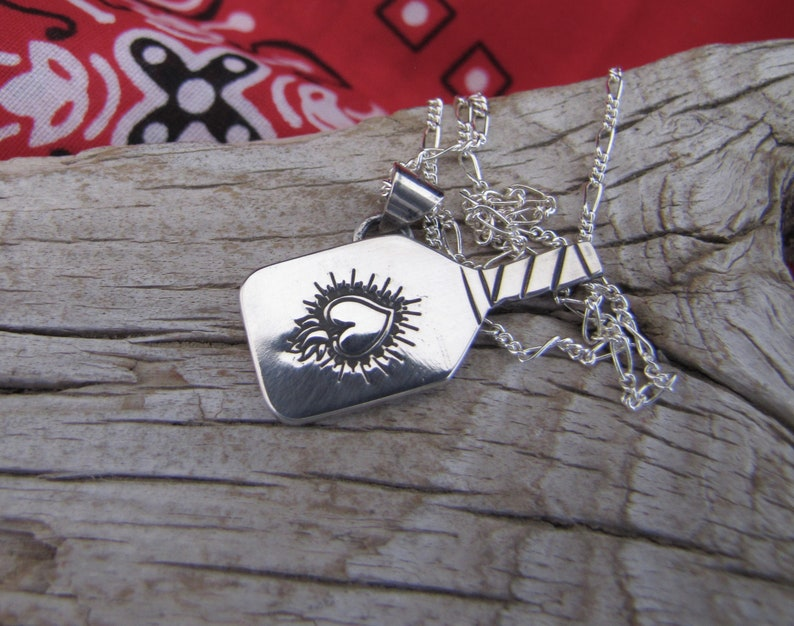 Sacred Heart Pickleball Paddle Sterling Silver Pendant with 18 Sterling Chain