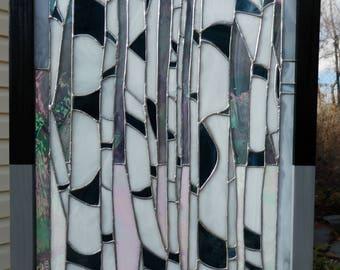 Aspen tree, Birch tree stained glass window panel tiffany foil method