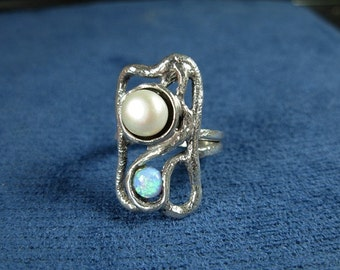 Handmade Sterling Silver Ring Pearl Opal