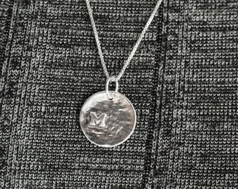 Personalized Sterling Silver Disc Initial Necklace .Handmade Sterling Silver Disc with Initial charm Necklace.Personalized Pendant