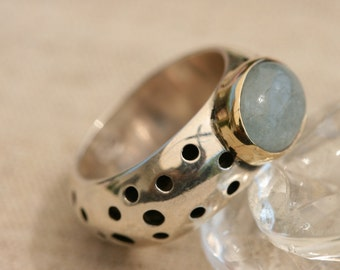 Avanturine Ring, Handmade Ring, Sterling Silver Ring, Silver and Gold  Ring, Handcrafted Jewelry, Silver Jewelry