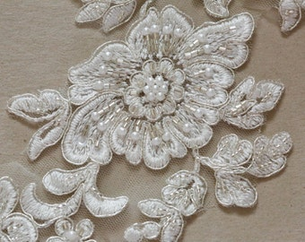 dfda8aea5 Large ivory Bridal Lace applique, Bridal Applique, Garter Lace Applique,  Ivory Lace, Style- AppSet- 22 SILVER