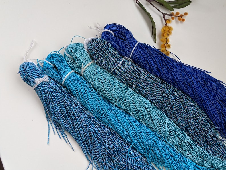 Tambour and Needlework Purl Metallic Purl in shades of Blue for Hand Embroidery like Goldwork French Bullion Wire
