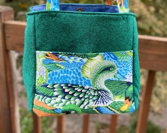 Florence#2135, Blue and Green Wild Duck Project Bag, Small Project Tote For Socks Scarf and Hat, Duck Knitting Project Bag,Self Standing Bag