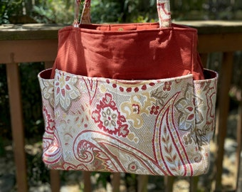 Tina#2111,Gorgeous Upholstery Fabric Large Self Standing Tote,Expanding Tote For Blankets and Few Projects,Great Weekend Bag or Overnite Bag