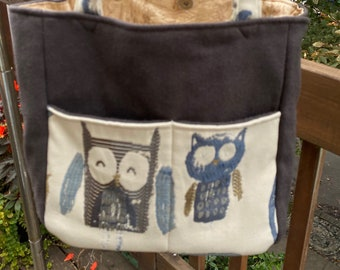 Florence#2196, Whimsical Owl Small Project Tote, Self Standing Small Knitting Project Bag, Small Owl Project Bag For Socks Scarves and Hats
