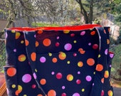 Katrina 2034, Bright Circles on Black Knitting Bag, Brightly Colored Project Tote, Self Standing Knitting Bag, Knitting Project Tote, Bags