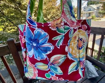 Priscilla#2163, Bright Red Floral Knitting Project Bag, Floral Beach Bag, Large Project Tote With 11 Pockets, Tote For Large Projects.