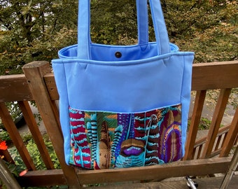 Florence#2139, Colorful and Beautiful Feather Project Bag, Painted Feathers Project Tote, Self Standing Knitting Bag, Bag For Socks and Hats