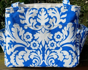 Katrina#2101, Royal Blue and White Floral Knitting Project Bag,  Self Standing Project Tote For Medium and Large Projects, Yarn Storage Bag