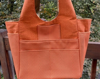 Priscilla#2194, Smart, Modern and Sassy Upholstery Fabric Project Tote,  Large Project Tote With 11 Pockets,Self Standing Large Knitting Bag