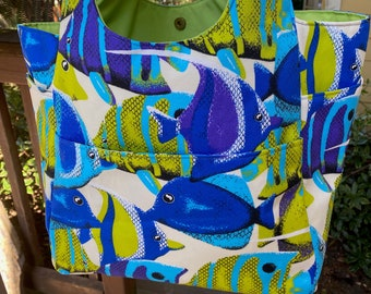 Priscilla#2169, Tropical Fish Large Project Bag, Fish Beach Bag, Colorful Fish Knitting Bag, Project Bag With 11 Pockets,Bright Knitting Bag