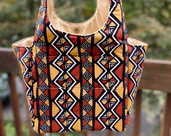 Patty#2139, African Tribal Cotton Fabric Medium Project Tote, Knitting Project Bag With 9 Pockets,Self Standing Project Bag,Yarn and Needles