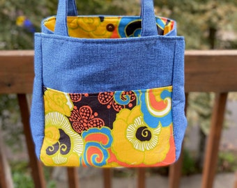 Florence#2197, Bright Floral Boho Small Project Bag, Bright and Fun Floral Knitting Bag,Self Standing Project Bag For Socks Scarves and Hats