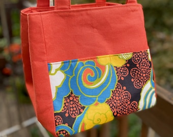 Florence#2138, Orange Floral Small Project Bag,  Project Tote For Socks Hats and Scarves, Self Standing  BOHO Small Knitting Project Bag,