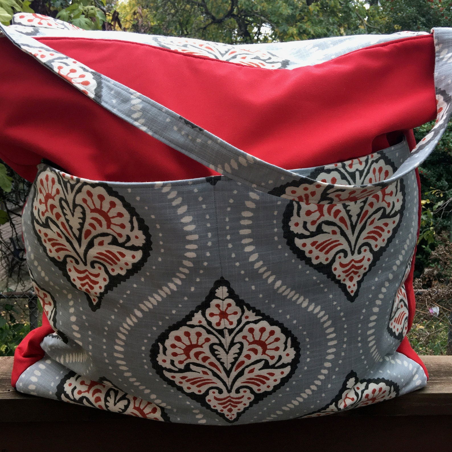 large bag with red and blue print fabric