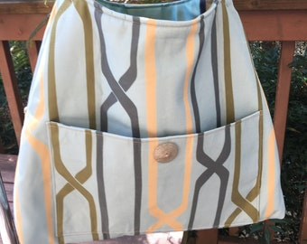 Madeline#1931, Blue Cotton Tote, Heavy Cotton Blue Shoulder Bag, Blue Knitting Bag, Knitting Project Bag, Shoulder Tote, Crochet Project Bag