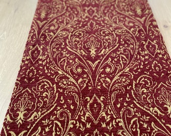 TableRunners#2107, Chenille Brocade Table or Bed Runner, Burgundy and Gold Chenille Table Runner, Fully Lined Table Runner or Chest Runner