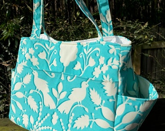Katrina#2100, Turquoise and White Bird Project Tote, Bird Knitting Project Bag,  Self Standing Project Bag, Medium to Large Project Tote