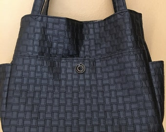 Tina#1819, Faux Leather Weekend Bag, Self Standing Knitting Tote, Large Project Tote, Weekend Bag, Overnight Bag, Knitting Bag, Crochet Bag