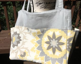 Tina#06, Gray Yellow and White Large Project Tote, Large Knitting Bag, Knitting Project Tote, Weekend Bag, Overnight Bag, Carry onTote, Bags