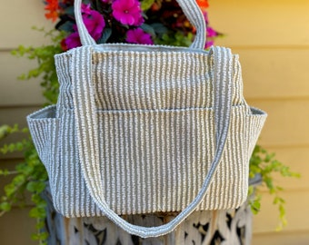 Katrina#2126, Striped Chenille Upholstery Fabric Project Tote, Self Standing Knitting Project Bag, Spinning Accessory Tote, Yarn Storage Bag