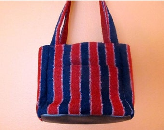 Florence #20 Red and Blue Upholstery Knitting Bag, Knitting Bag, Knitting Tote, Small Project Bags, Bags, Crochet and Knit,  Knitters,  Tote