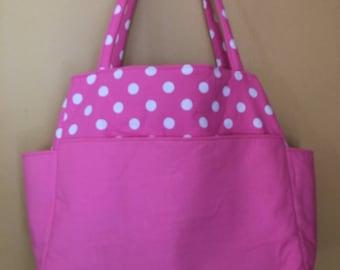 Tina #31Extra Large Pink and White Polka Dot Bag, Extra Large Pink Tote, Large Project Tote, Large Knitting Bag, Diaper Bag, Needlepoint Bag