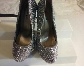 vintage ladies party shoes Rhinestones .