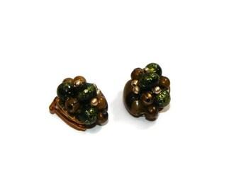 Vintage Green Beaded Clip On Earrings