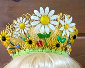 Sunny Yellow Unusual Daisy Lace Princess Tiara with Vintage Enamel Daisy Flowers and Ladybugs
