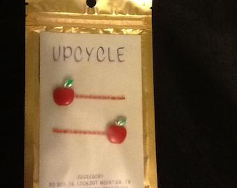 Pair Glittery Apple Bobby Pins