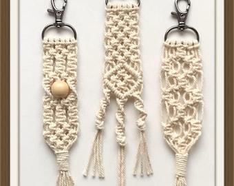 Macrame key chain key purse charm fob keychain rope art lanyard boho bag charm cotton rope