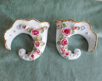 Pair Norcrest Floral Wall Pockets, Rare Vintage Wall Pockets
