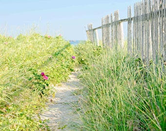 Cottage Decor, Seaside Art, Beach Fence, Blue Skies, Sandy Beach Path, Coastal Home Decor, Large Wall Art, Nantucket Pictures, Home Wall Art