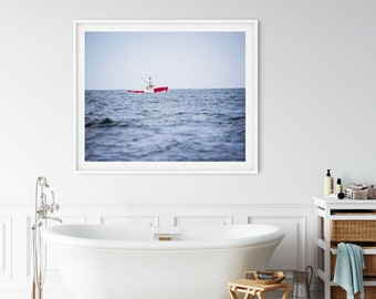 Coastal Prints, Lobster Fishing Boat, Nautical Decor, New England Travel Art, Beach Cottage, Red Blue, Gloucester MA, Cape Ann Photography