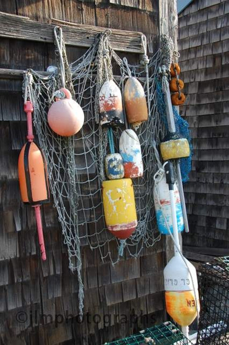 Nautical Wall Art Buoys Lobster Traps Colorful Fishing Decor Fishing Nets New England Landscape Fishing Village Nautical Prints