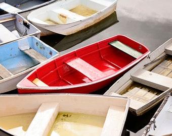 Nautical Decor, Lake House, Rowboat Dory Print, Coastal Cottage Art, Pop of Red, Kitchen Wall, Horizontal Artwork, Bedroom, Rockport MA