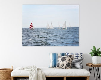 Sailboat Wall Art Prints, Gloucester MA Learning to Sail, Boat Races, Nautical Wall Decor, Sailing Picture, Red White Decor, Coastal Artwork