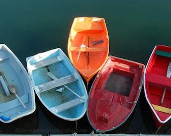 Nautical Decor, Lake House Art, Colorful Boat Photography, Row Boat Pictures, Orange Blue Red, Coastal Beach Cottage Large Art