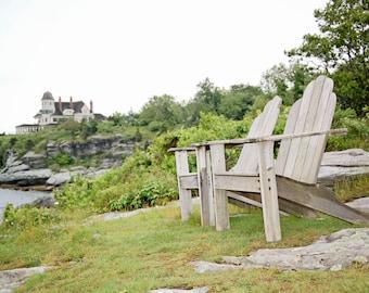 Adirondack Chairs Photography Print, Castle Hill Lighthouse Pictures, Art Photography, Newport Rhode Island Art Print, Coastal Cottage Decor