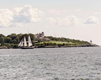 Newport Rhode Island, Castle Hill, Nautical Print, Sailing Photography, Adirondack Schooner Sailing Art, Beach Cottage, Fine Art Photography