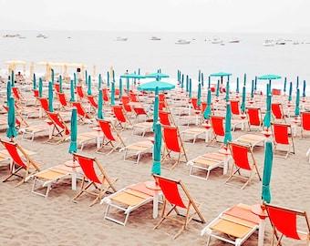 Italy Beach Photo - Amalfi Coast Beach Chairs and Sun Umbrellas Print, Coastal Pictures, Summer Wall Decor, Colorful Beach Photography Print
