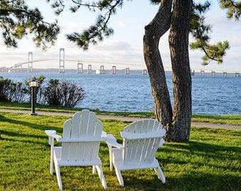 Newport Rhode Island Photos - Goat Island Newport Jamestown Bridge, Coastal Artwork, Nautical Blue Decor, Wedding Anniversary Gift Idea