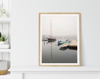 Large Sailing Art, Nautical Wall Decor, Woods Hole, MA, Cape Cod Beach House, Foggy Harbor Picture, Coastal Cottage, New England Photography