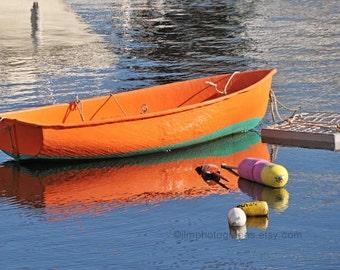Rowboat Prints, Nautical Wall Decor, Dory Boat Art, Coastal Chic, Orange PinkYellow, Boat Photography, Home Art, Boat Prints, Large Art
