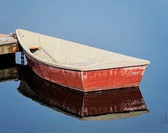 Nautical Wall Artwork, Coastal Print, Red Row Boat, Cottage Decor, Beach House Decor, New England Boat Photography, Bedroom Living Room