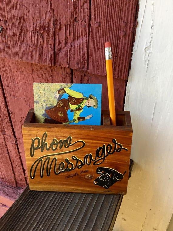 années 1940 shabby Chic ANTIQUE en bois téléphone Message Note et pot à crayons