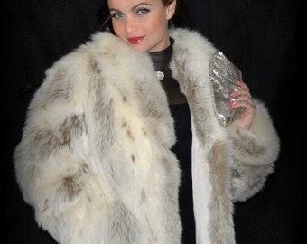 90aa2287c70 ROYAL Genuine Fox Fur Coat   Arctic Fox Fur Thick Full Pelt  Full Length  Fox Fur Coat Dyed Lynx Look   Womens Medium Large 8 10 12
