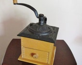 Antique Wooden Base Coffee Grinder with Ornate Cast Iron Top Rare Unique Find Home Decor Housewares